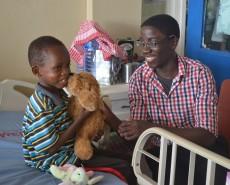 Delivering gifts at Korle-Bu Children's Hospital