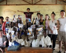 Tyler Choi delivers supplies to Tanzanian youth.